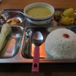 The ubiquitous and yummy Dal Bath at the Tea-House on the Annapurna Poonhill Trek