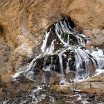 Waterfall that never freezes even at -35 degree celsius on the chadar trek in Ladakh