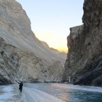 The towering side walls of Zanskar on the Chadar Trek in Ladakh winter
