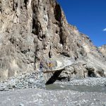 Bridge ahead of Markha Village on the way to Tacha gompa on the Markha Valley Trek in Ladakh by Adventure Sindbad