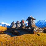 Stupas at Dzongri grazing grounds at Khangchendzonga National Park on the Dzongri Goechala trail